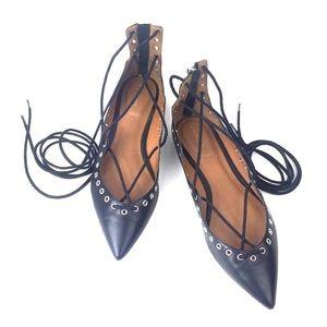 Black ZARA Grommet Lace Up Strappy Ballet Flats